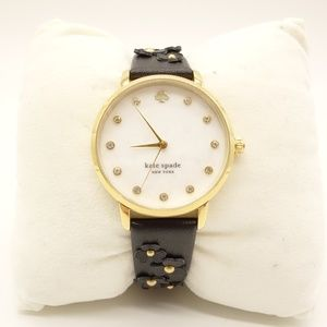 NWT KATE SPADE Metro Black Floral Leather Watch